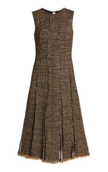 Sleeveless Pleated Metallic Midi Dress
