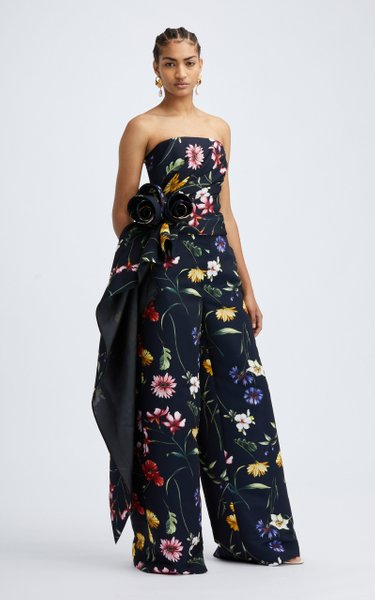 Strapless Draped Floral Top