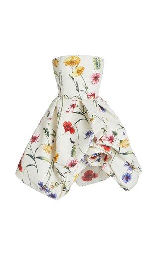Rosette-Detailed Floral Crepe Strapless Mini Dress
