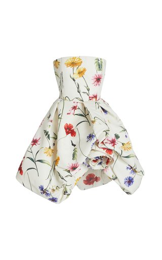 Rosette-Detailed Floral Crepe Strapless Mini Dress