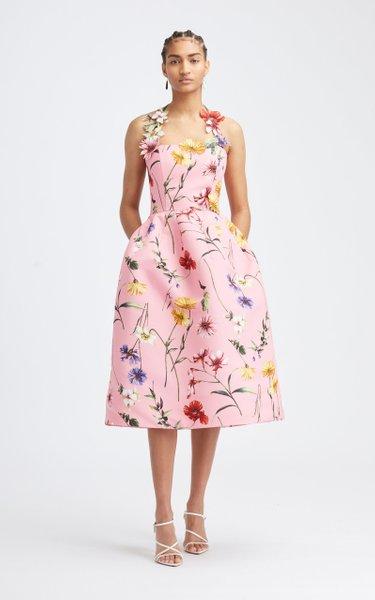 Floral Halter Midi Full Skirt Dress