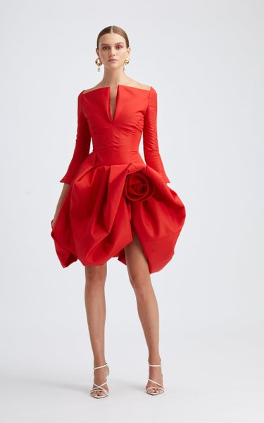 V-Neckline Off-The-Shoulder Cocktail Dress