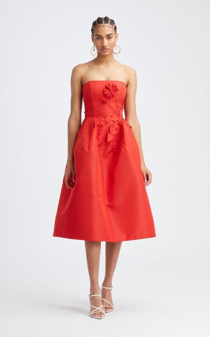 Strapless Floral Embellishment A-Line Dress