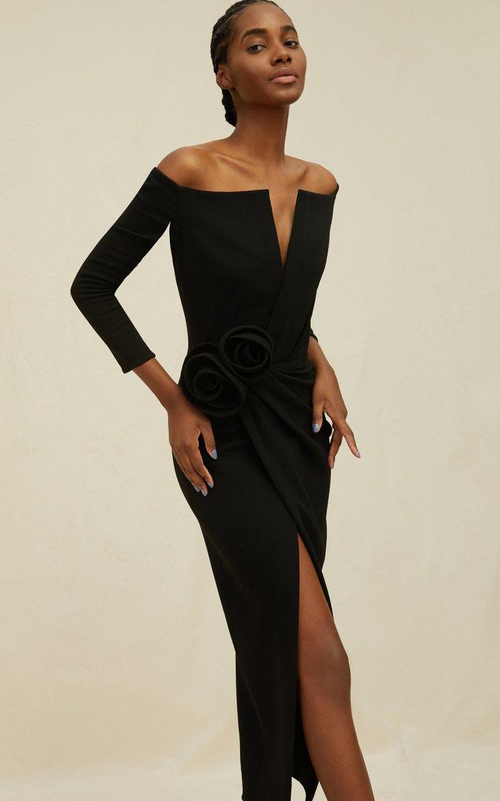 V-Neckline Rosette Wool-Blend Cocktail Dress