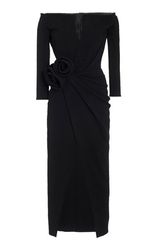 Rosette-Detailed Wool-Blend Off-The-Shoulder Midi Wrap Dress