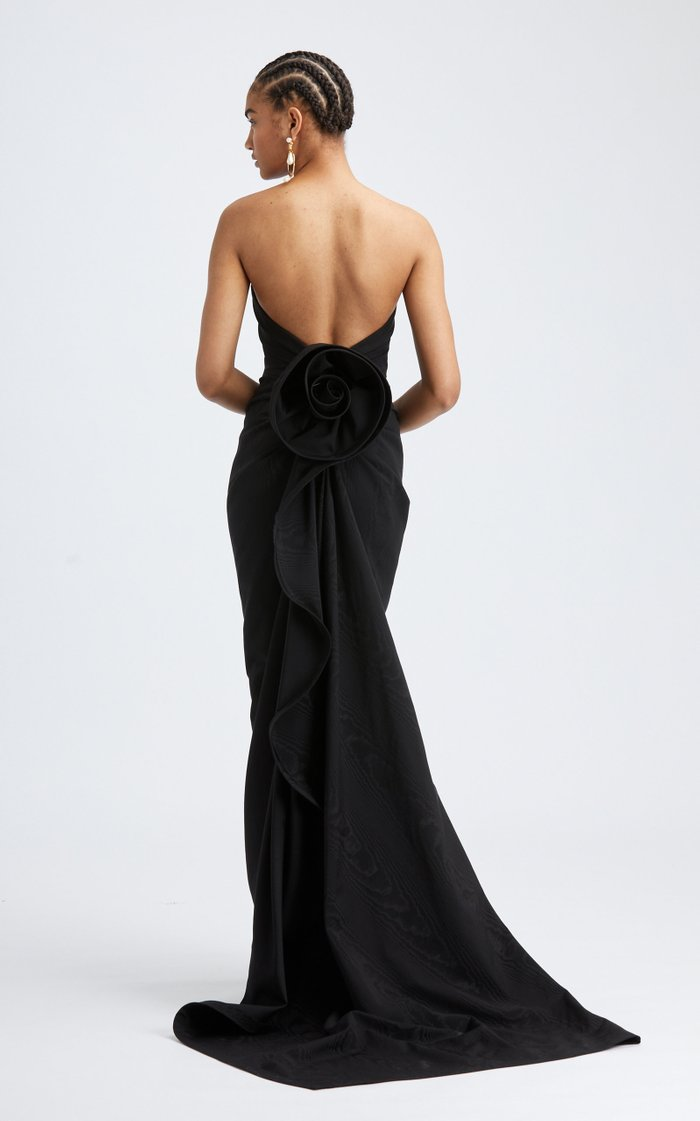 Strapless Rosette Back Cotton-Blend Gown