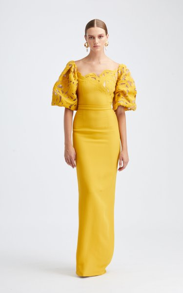 Cutout Neckline Column Gown