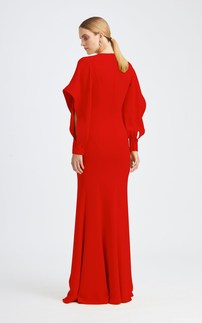 Cascade Long Sleeve Silk-Blend Gown