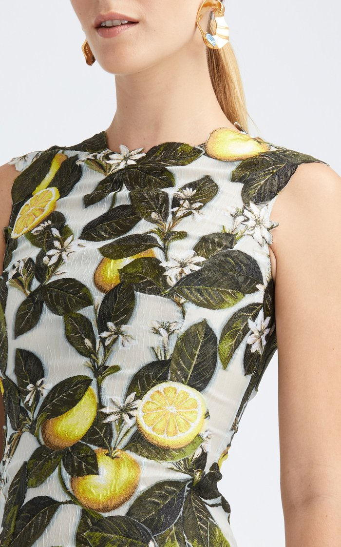 Sleeveless Lemon-Print Silk-Blend Gown