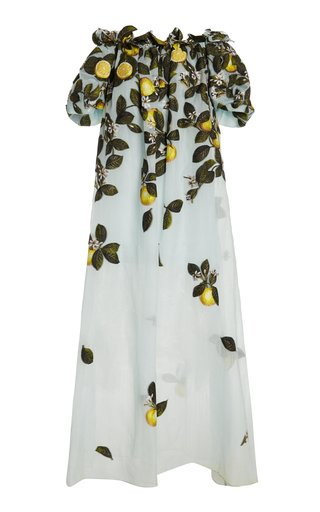 Lemon-Print Silk-Blend Off-The-Shoulder Gown