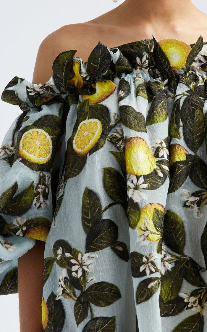 Off-The-Shoulder Silk-Blend Caftan Gown