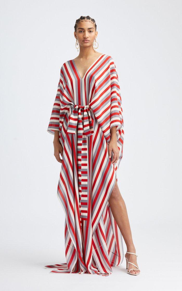 Striped Silk V-Neck Caftan
