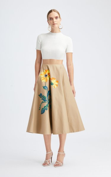 Mid-Rise Hand-Painted A-Line Skirt