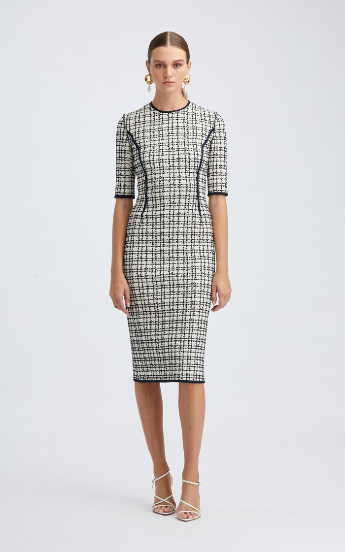 Short Sleeved Stretch Cotton-Blend Midi Dress