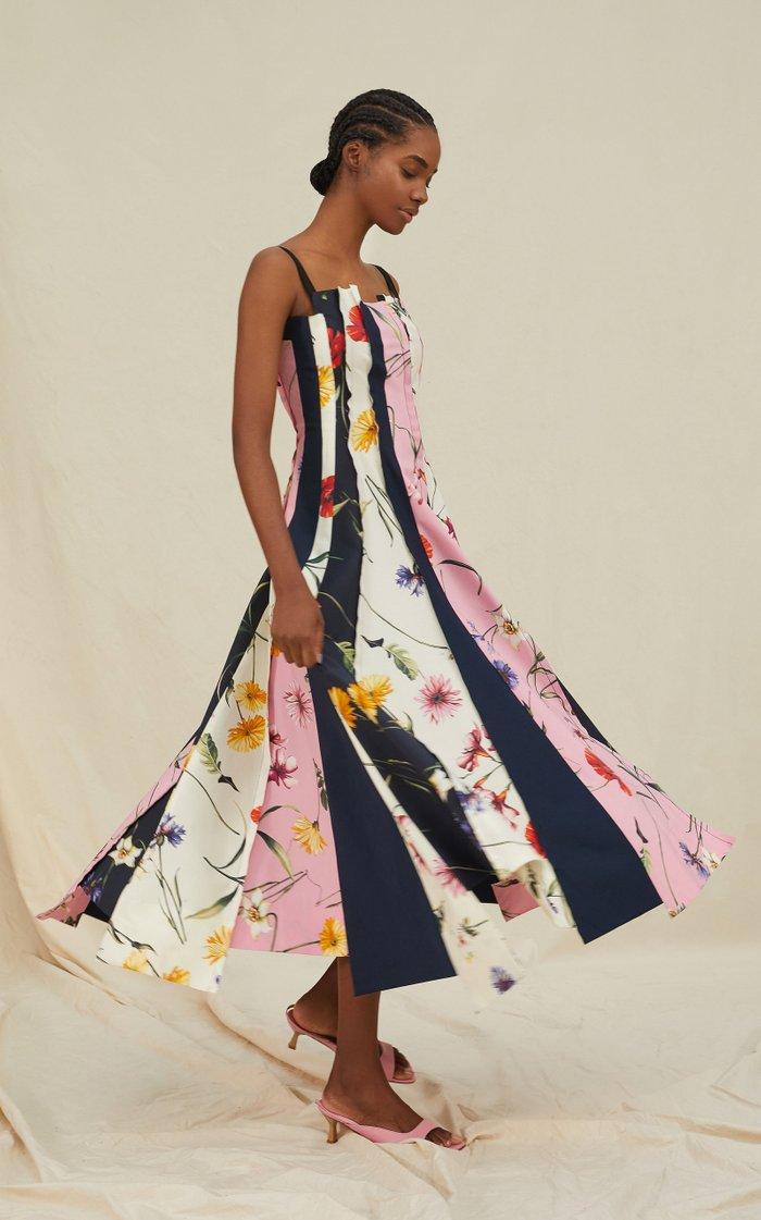Square Neckline Cotton-Blend Printed Dress