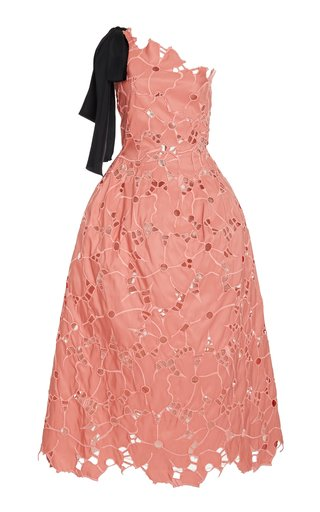 Broderie Anglaise One-Shoulder Tea-Length Dress