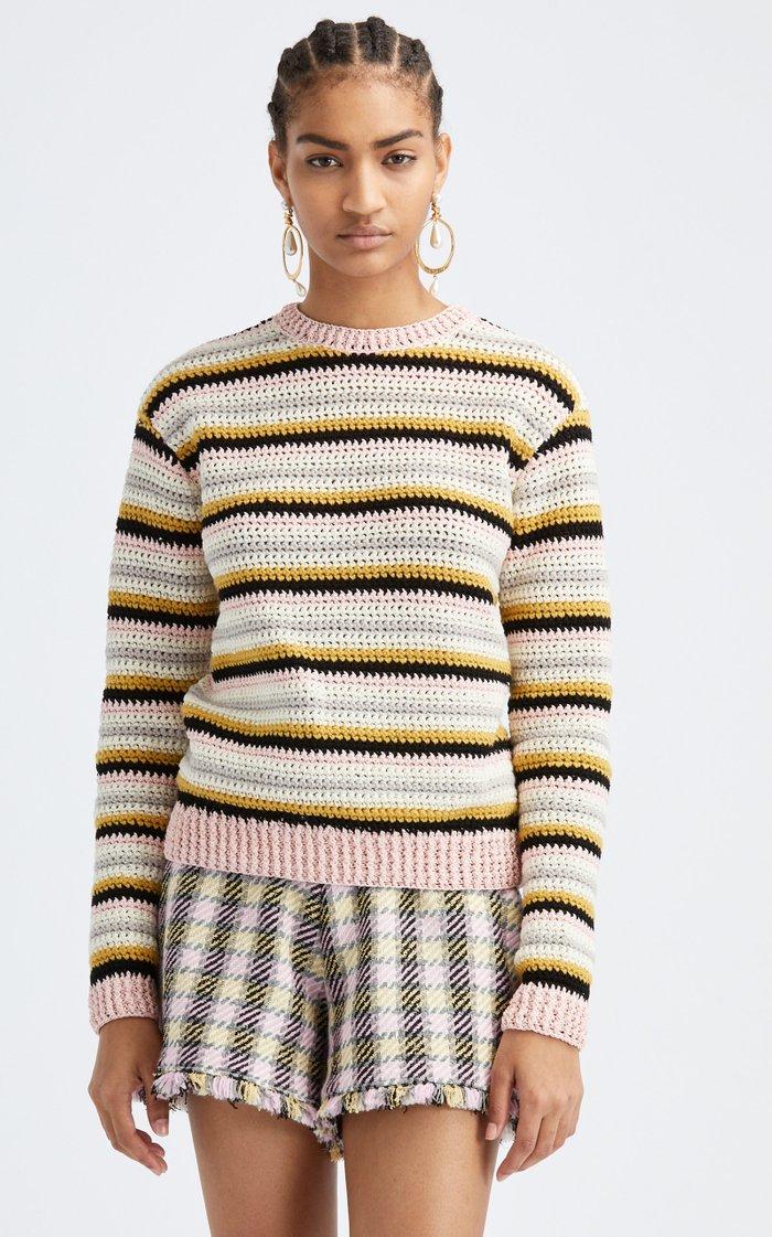 Striped Cotton Crewneck Sweater