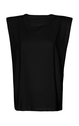 Eva Padded-Shoulder Cotton Muscle T-Shirt