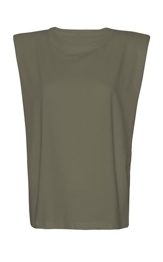 Eva Padded-Shoulder Cotton Muscle T-Shirt