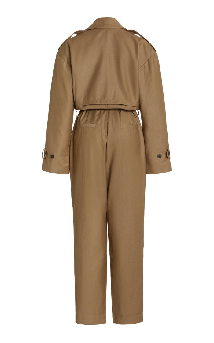 Gabardine Double-Breasted Trench Jumpsuit