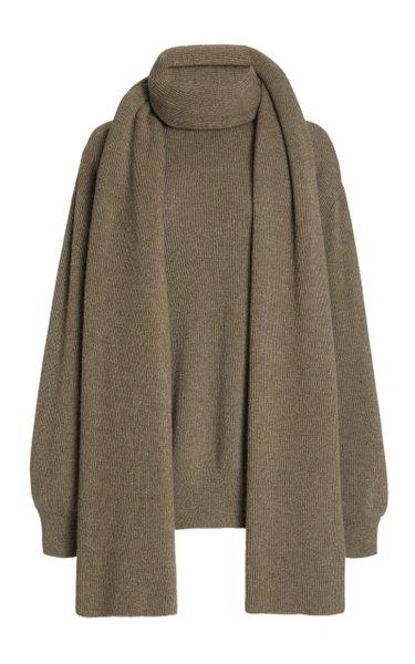 Scarf-Detailed Rib-Knit Turtleneck Sweater