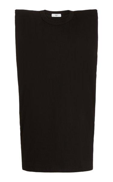 Tina Padded-Shoulder Cotton T-Shirt Dress