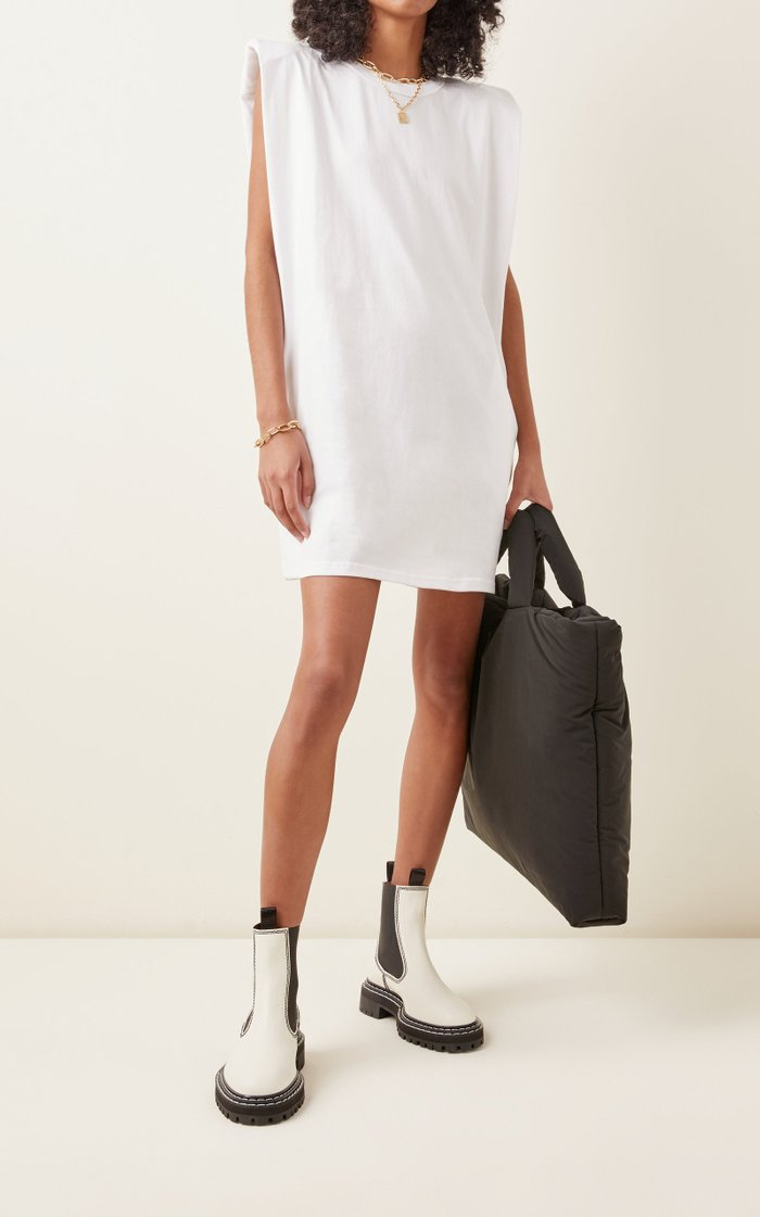 Tina Padded-Shoulder Cotton T-Shirt Dress