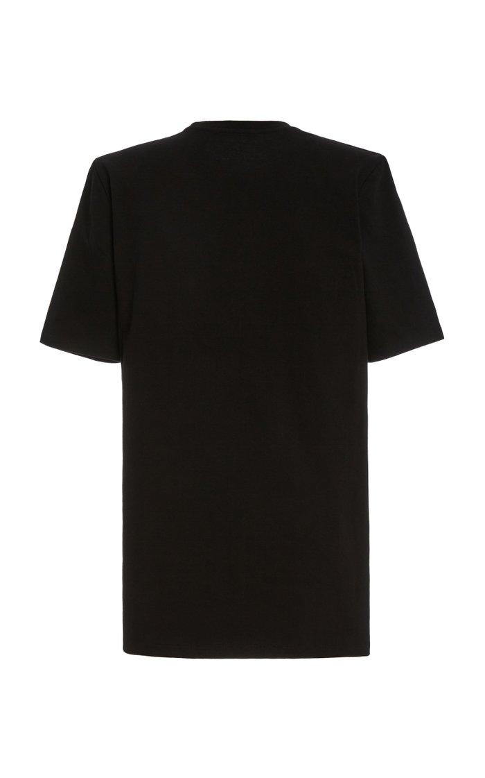 Sean Padded-Shoulder Cotton Mini T-Shirt Dress
