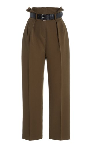 Belted Pleated Woven Paperbag Trousers