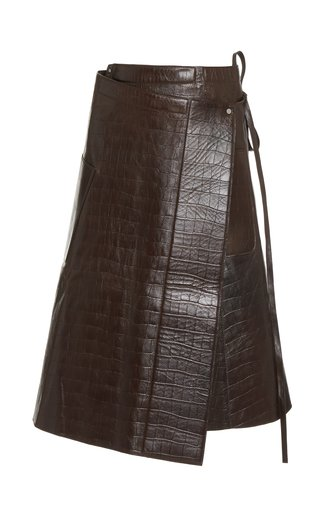 Apron Croc-Effect Leather Midi Wrap Skirt