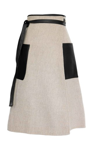 Apron Double-Faced Wool Midi Wrap Skirt