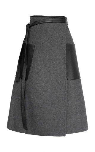Apron Double-Faced Wool Midi Wrap Skirt