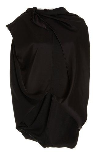 Draped Technical Silk Cape Top