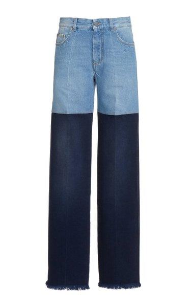 Two-Tone Rigid High-Rise Straight-Leg Jeans
