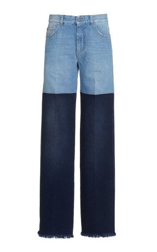 Two-Tone Rigid High-Rise Straight-Leg Jeans