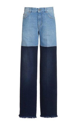 Two-Tone Rigid Mid-Rise Straight-Leg Jeans