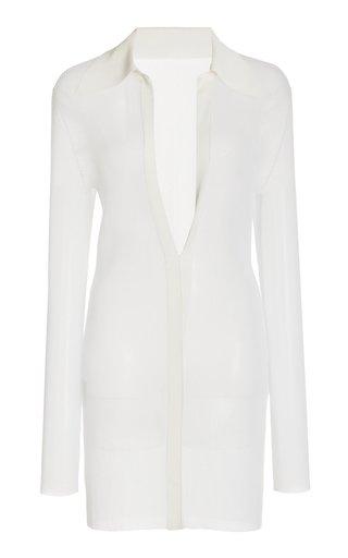Jessica Sheer-Knit Mini Shirt Dress