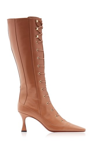 Knee-Length Lace-Up Leather Duck Boots