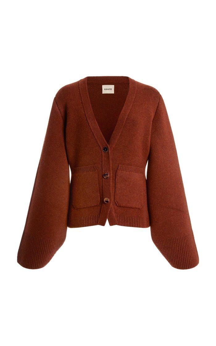 Scarlet Oversized Puff-Sleeve Cashmere Cardigan