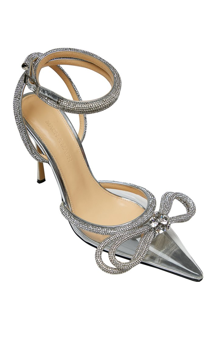 Double Bow Crystal-Embellished PVC Pumps