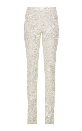 Split-Leg Glittered Skinny Pants