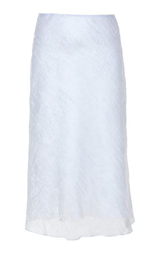 Crinkled Silk Organza Midi Skirt