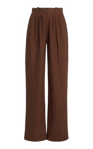 Exclusive Pierre Linen Wide-Leg Trousers