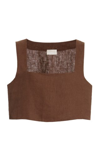 Alice Linen Cropped Top