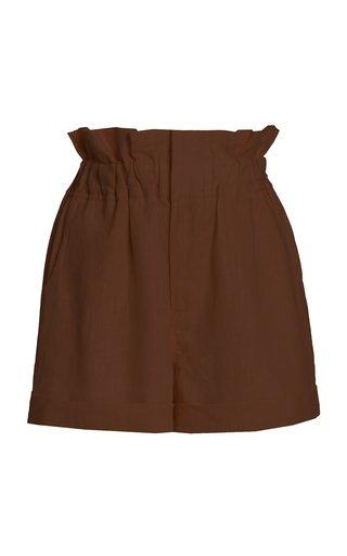 Exclusive Ducky Oversized Paperbag-Waist Linen Shorts