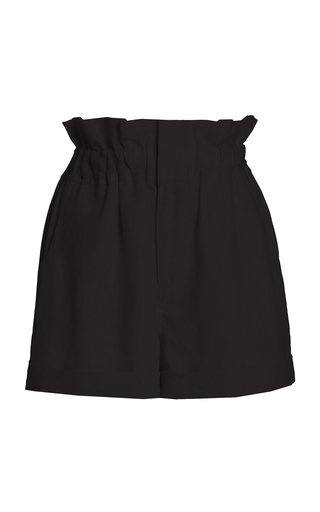 Exclusive Ducky Oversized Paperbag-Waist Linen Shorts