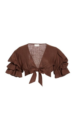 Exclusive Polly Ruffled Linen Cropped Top