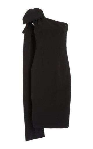 Exclusive Asymmetric Bow Crepe Knee-Length Dress