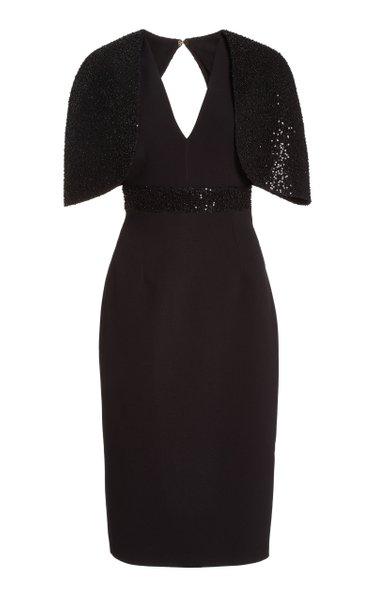 Exclusive Sequined Crepe Midi Cape Dress