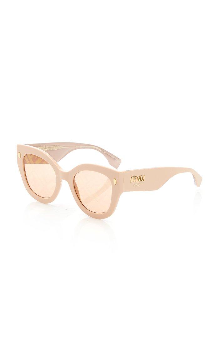 Logo-Lens Round-Frame Acetate Sunglasses